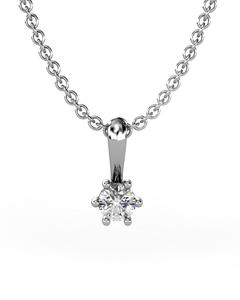 Colgante Solitario de Oro blanco con Diamante de 0,10 quilates. Cadena de plata de regalo. Cresber