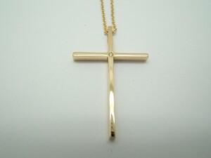 Collar  Cruz de oro amarillo i diamante con cadena C-123 B-79