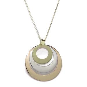 Collar de 3 OROS, Amarillo, Rosa y Blanco con 3 círculos de 1.50, 2.00 y 2.60cm y Cadena Forzada 45 Never say never