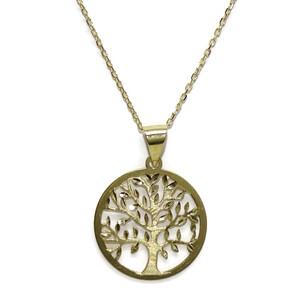 Collar árbol de la Vida de Oro Amarillo Mate y Brillo de 18k 2.00cm de diámetro y 45cm de Largo Never say never