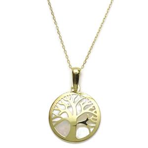 Collar árbol de la Vida de Oro de 18k con nácar y Cadena Forzada de 40cm. Cierre reasa Never say never