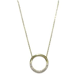 Collar Cadena fina forzada de 40cm de oro amarillo de 18K con 13 circonitas de la mejor calidad Never say never