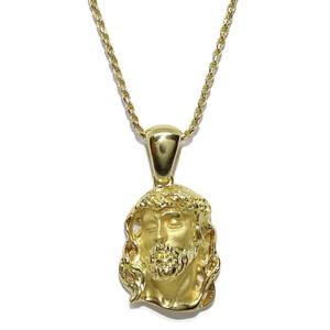 Collar  Cara de Cristo pequeña de Oro Amarillo de 18k con cordón salomónico de 1.5mm de Ancho de Oro Macizo Never say never