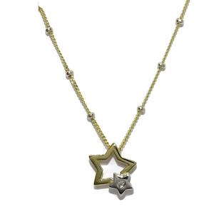 Collar con un Diamante de 0.03cts en Forma de Estrella en Oro Amarillo y Oro Blanco de 18k Never say never