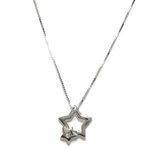 Collar con un Diamante de 0.03cts en Forma de Estrella en Oro Blanco de 18k y 40cm Never say never