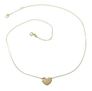 Collar corazón de Oro Amarillo de 18k con Cadena Forzada de 45cm de Largo.Ideal Mujer. Peso; 1.55gr Never say never