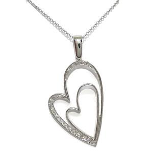 Collar corazón de Oro Blanco de 18k con circonitas, Grande de 3.40cm de Alto con Cadena rolo de Oro  Never say never