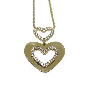 Collar doble corazon oro 18Ktes y circonitas. Never say never