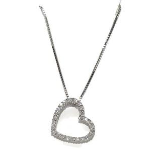 Collar corazón para Mujer de Oro Blanco de 18k y 0.47cts de Diamantes  Never say never