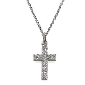 Collar Cruz de oro blanco de 18ktes con circonitas y cadena forzada de oro blanco de 18ktes y 45cm.  Never say never