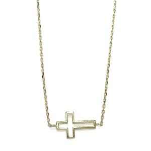 Collar Cruz tumbada de Oro Amarillo de 18k de 42.00cm de Larga y 1.90gr Never say never