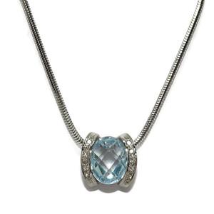 Collar de 0.10Cts de diamantes, amatista o topacio azul y oro blanco de 18Ktes Never say never