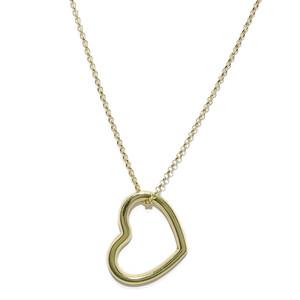 Collar de corazón de Oro Amarillo de 18k y Cadena rolo Never say never
