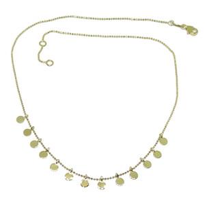 Collar de Moda de Oro Amarillo de 18k con Cadena de Bolitas lapidadas y 13 círculos de Oro de 4mm  Never say never
