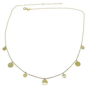 Collar de Moda de Oro Amarillo de 18k con Cadena Forzada y 7 círculos de Oro de 5 y 7mm de diámetro Never say never