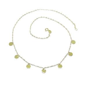 Collar de Moda de Oro Amarillo de 18k con Cadena italiana de eslabones estriados y 7 círculos de Oro Never say never