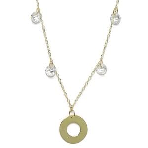 Collar de oro amarillo de 18 Ktes con círculo y circonitas. 45cm Never say never