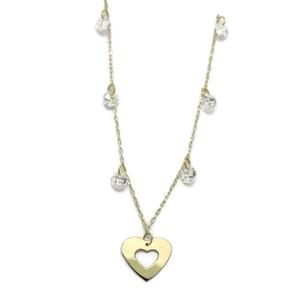 Collar de oro amarillo de 18 Ktes con corazon y circonitas. 45cm Never say never