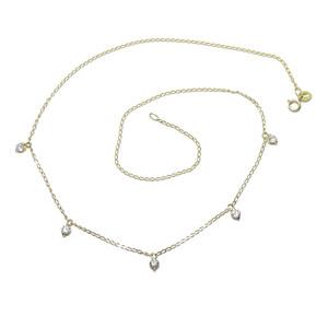 Collar de Oro Amarillo de 18k con 5 circonitas de la Mejor Calidad. 40cm Never say never
