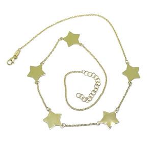 Collar de Oro Amarillo de 18k con 5 Estrellas de Oro 18k Brillo de 45cm  Never say never