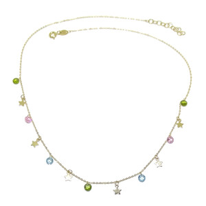 Collar de Oro Amarillo de 18k con 6 Estrellas de Oro de 5mm y 7 circonitas de Color  Never say never