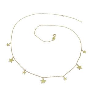 Collar de oro amarillo de 18k con 7 estrellas de oro amarillo brillo de 7 y 5mm de diámetro y cadena Never say never