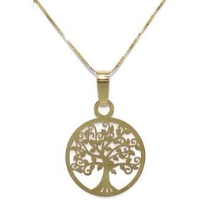 Collar de Oro Amarillo de 18k con ábol de la Vida de 2.00cm de diámetro y Cadena Veneciana de 40cm.  Never say never