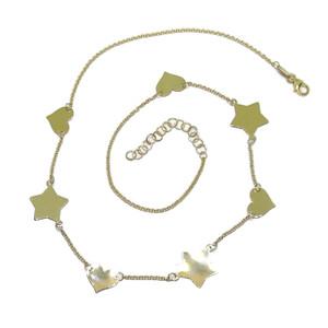 Collar de Oro Amarillo de 18k con Corazones y Estrellas de Oro Amarillo Brillo y Cadena rolo de 45cm Never say never