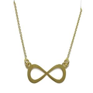 Collar de Oro Amarillo de 18k con Infinito Plano de 2.00cm de Ancho por 1.00cm de Alto. Cadena rolo  Never say never