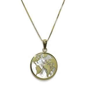 Collar de Oro Amarillo de 18k con la Bola del Mundo y nácar de 1.60cm de diámetro y Cadena Veneciana Never say never