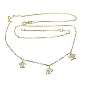 Collar de oro amarillo de 18k y 3 diamantes de 0.05cts con motivos de estrellas de 7mm  Never say never