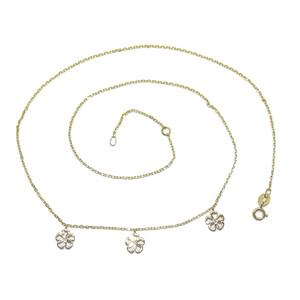 Collar de oro amarillo de 18k y 3 diamantes de 0.05cts con motivos de flor de 5 pétalos de 7mm  Never say never