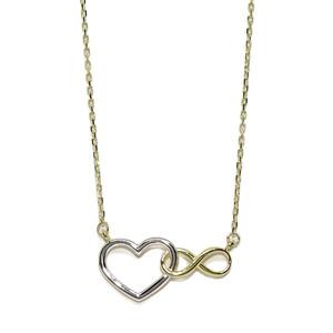 Collar de Oro Amarillo de 18k y Motivo Central de corazón e Infinito. Oro de 18k  Never say never