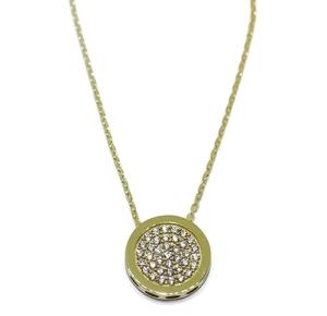 Collar de oro amarillo de 18Ktes con circonitas. 1.10cm de diametro. 45cm largo Never say never