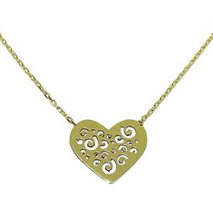 Collar de oro amarillo de 18ktes con corazón calado y cadena de 45cm Never say never