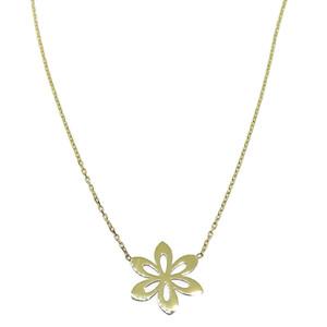 Collar de oro amarillo de 18Ktes con flor 6 petalos. 45cm Never say never