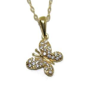 Collar de oro amarillo de 18Ktes con mariposa de oro amarillo de 18Ktes y circonitas. 40cm Never say never