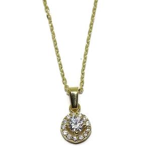 Collar de oro amarillo de 18Ktes con 14 circonitas en colgante de 0.8cm de diametro.45cm Never say never