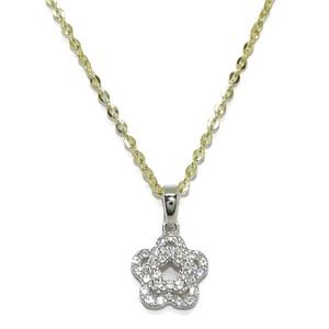 Collar de oro amarillo de 18Kts y colgante de oro blanco de 18Ktes con 31circonitas de la mejor cali Never say never