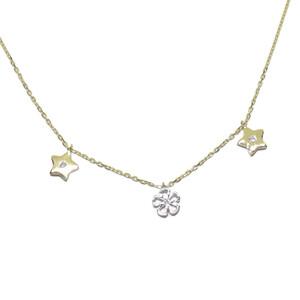 Collar de oro bicolor de 18k y 3 diamantes de 0.05cts con motivo central de flor en oro blanco de 18 Never say never