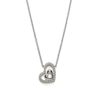 Collar de Oro Blanco de 18k para Mujer con Doble Corazon de Oro y 0.12cts de Diamantes 42cm de Largo Never say never