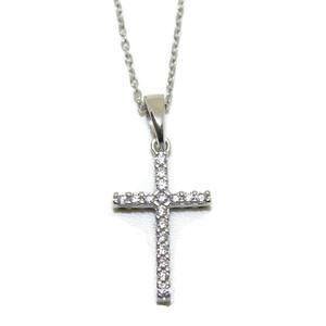 Collar de oro blanco de 18ktes con cruz reversible de oro blanco de 18ktes y circonitas Never say never