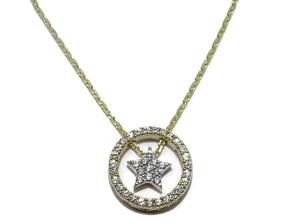 Collar de oro blanco y oro amarillo de 18Ktes con motivo de estrella movil. 45cm Never say never