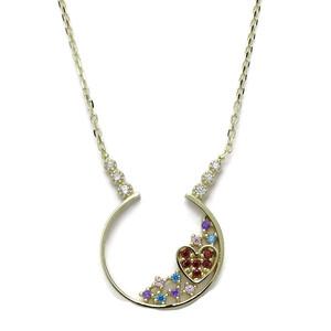 Collar de Oro Media Luna con corazón y circonitas de Color de 1.60cm de diámetro y Cadena Forzada Never say never
