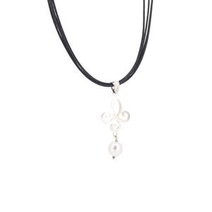 Collar de plata con perla  15H13P-1 Stradda
