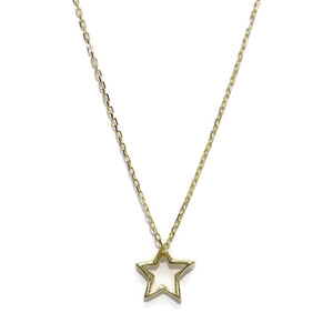 Collar Estrella de Oro de 18k de 8mm con Cadena Forzada de Oro de 18k en 40cm de Largo Never say never