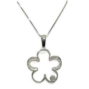 Collar flor de 5 pétalos de oro blanco de 18k con 15 circonitas Never say never