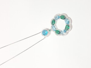 Collar gargantilla de plata rodiada con circulo piedras - Artesanal - pber34485