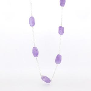 Collar largo plata y piedras amatistas  15H25-1 Stradda