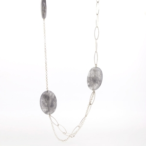 Collar largo plata y piedras naturales  15SR-8 Stradda